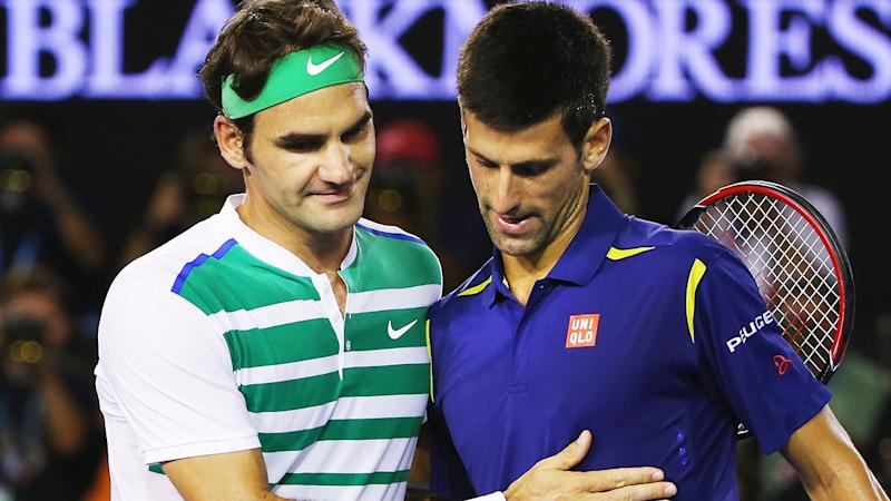 Roger Federer and Novak Djokovic, pictured here after playing at the Australian Open in 2016.