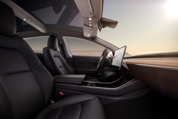 The interior of a Model 3