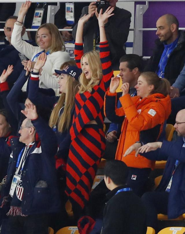 Speed Skating - Pyeongchang 2018 Winter Olympics - Men's Mass Start semifinal - Gangneung Oval - Gangneung, South Korea - February 24, 2018 - U.S. President Donald Trump's daughter and senior White House adviser, Ivanka Trump does the mexican wave. REUTERS/Phil Noble