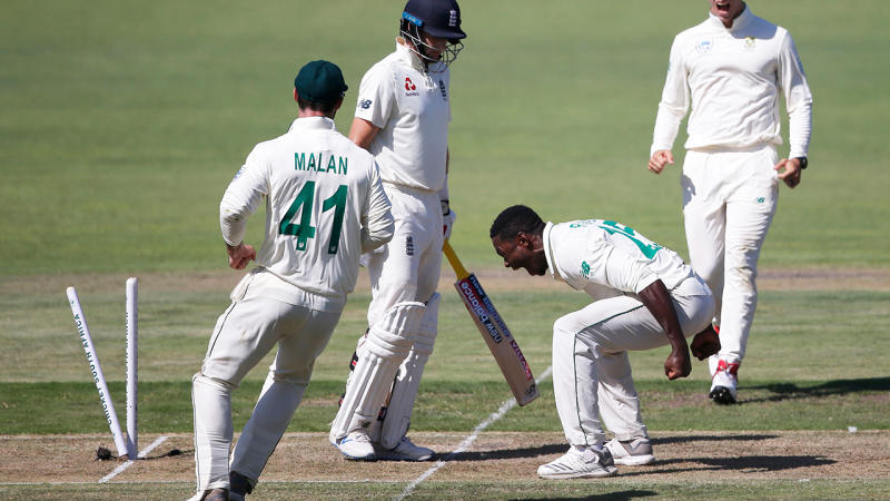 South Africa's Kasigo Rabada copped a ban and a fine from the ICC for this celebration after clean bowling England's Joe Root. (Photo by MARCO LONGARI / AFP) (Photo by MARCO LONGARI/AFP via Getty Images)