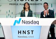 <p>Jessica Alba, founder and CCO of The Honest Company, rings the Nasdaq Stock Market opening bell to mark the company's IPO on Wednesday in N.Y.C.</p>