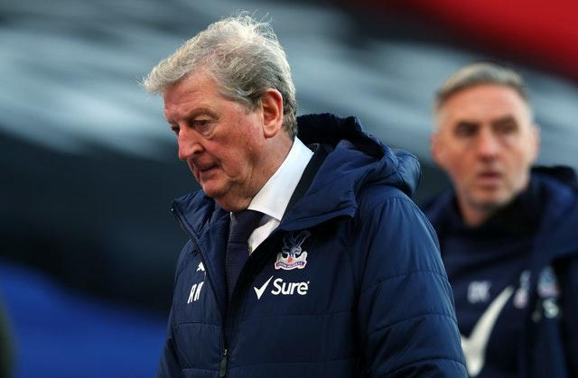 Crystal Palace manager Roy Hodgson watches on