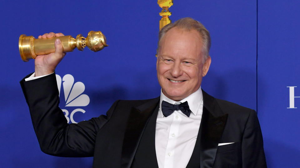 Stellan Skarsgård with his award for 'Chernobyl' at the 77th Annual Golden Globe Awards on January 05, 2020. (Photo by Kevin Winter/Getty Images)