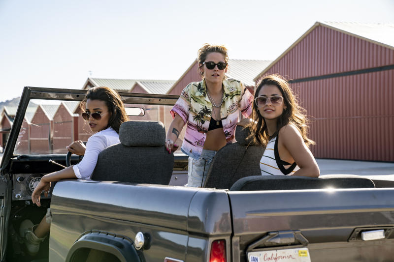 "This image released by Sony Pictures shows, from left, Ella Balinska, Kristen Stewart and Naomi Scott in the film, ""Charlie's Angels."" (Merie Weismiller Wallace/Sony Pictures via AP)"