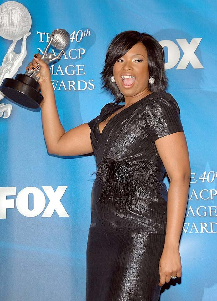 """Jennifer Hudson continued her triumphant return to the spotlight. The singer/actress picked up three trophies at the 40th NAACP Image Awards on Thursday. John Shearer/<a href=""""http://www.wireimage.com"""" target=""""new"""">WireImage.com</a> - February 12, 2009"""