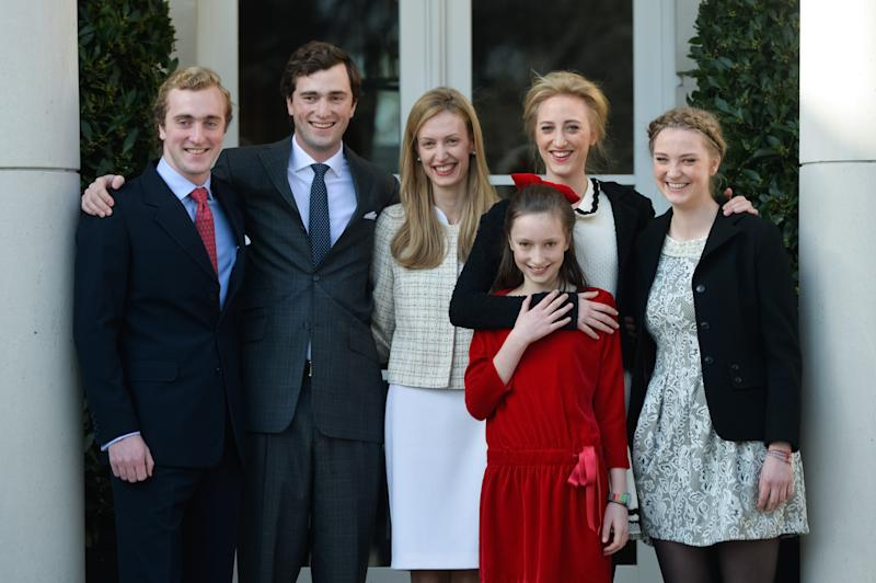 The five children of Princess Astrid, (L-R) Prince Joachim, Prince Amedeo and his fiancee Elisabetta Rosboch von Wolkenstein, Princess Laetitia Maria, Princess Maria Laura and Princess Luisa Maria, pose for a picture on the day of the engagement of Belgian Prince Amedeo (grandson of King Albert II) to Elisabetta Rosboch von Wolkenstein, in the Schonenberg royal residence, home of Amedeo's parents, in Brussels, on February 15, 2014. 27 years old Prince Amedeo and Italian journalist Elisabetta Rosboch von Wolkenstein live in New-York. AFP PHTO / BELGA PHOTO / FREDERIC SIERAKOWSKI == BELGIUM OUT== (Photo credit should read FREDERIC SIERAKOWSKI/AFP via Getty Images)