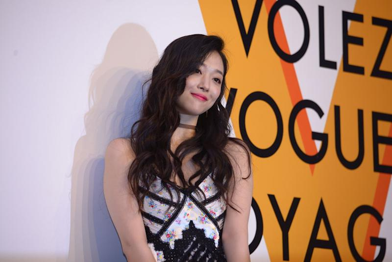 "SEOUL, SOUTH KOREA - JUNE 07: South Korean singer Sulli attends the Louis Vuitton ""Volez, Voguez, Voyagez"" Exhibition on June 7, 2017 in Seoul, South Korea. (Photo by Visual China Group via Getty Images/Visual China Group via Getty Images)"