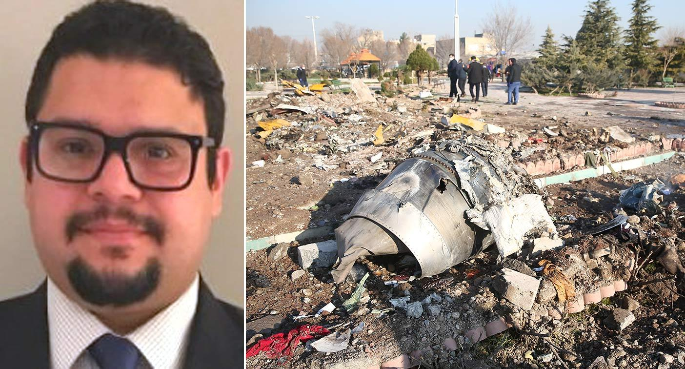A photo of Saeed Tahmasebi Khademasadi, and the wreckage of the plane crash. (PA Images)