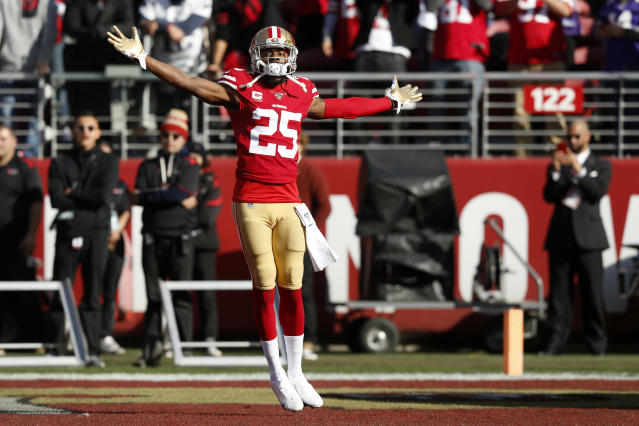 Cornerback Richard Sherman made a huge play in the 49ers' playoff game against the Vikings. (Photo by Lachlan Cunningham/Getty Images)