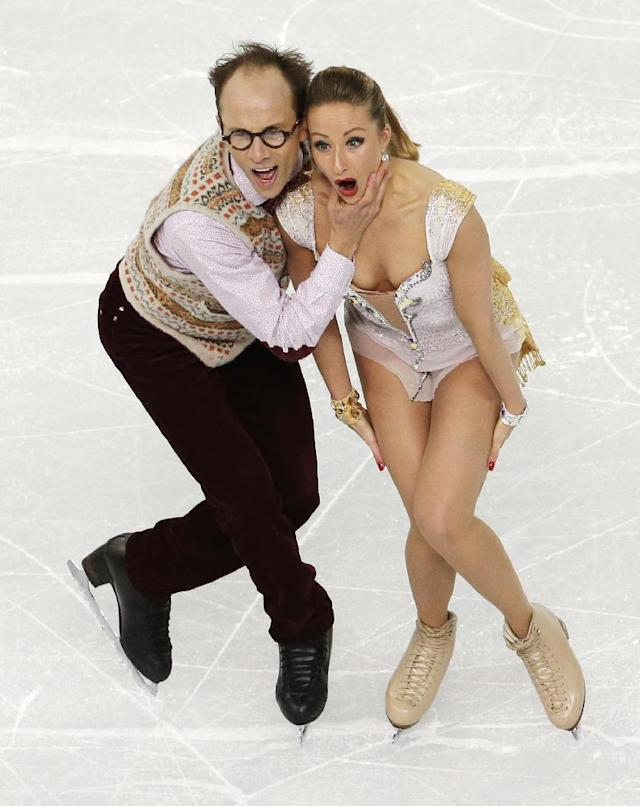 Nelli Zhiganshina and Alexander Gazsi of Germany compete in the team ice dance short dance figure skating competition at the Iceberg Skating Palace during the 2014 Winter Olympics, Saturday, Feb. 8, 2014, in Sochi, Russia. (AP Photo/Bernat Armangue)