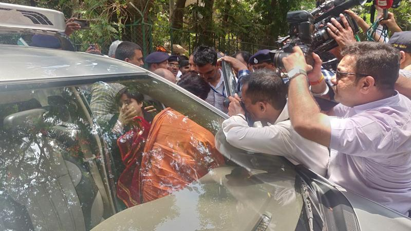 23. Pragya Singh arrives to attend the Melagaon Trial