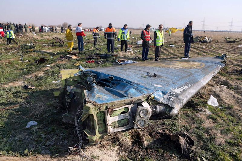 The scene of a Ukrainian airliner that crashed (IRNA/AFP via Getty Images)