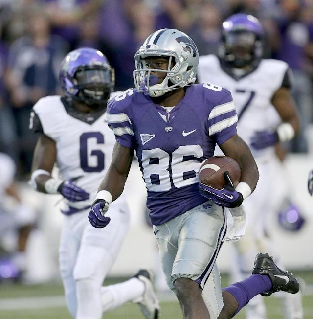 Kansas State wide receiver Tramaine Thompson (86) runs into the end zone to score a touchdown during the second half of an NCAA college football game against TCU, Saturday, Nov. 16, 2013, in Manhattan, Kan. Kansas State won 33-31. (AP Photo/Charlie Riedel)