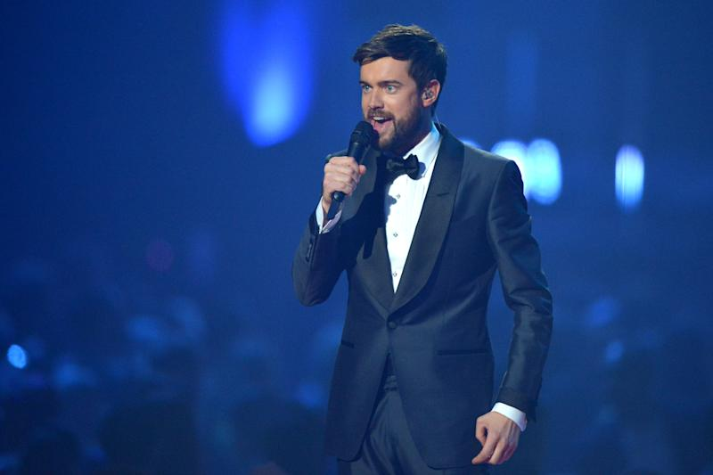 Comedian Jack Whitehall presents on stage during The BRIT Awards 2020 at The O2 Arena on February 18, 2020 in London, England. (Photo by Jim Dyson/Redferns)