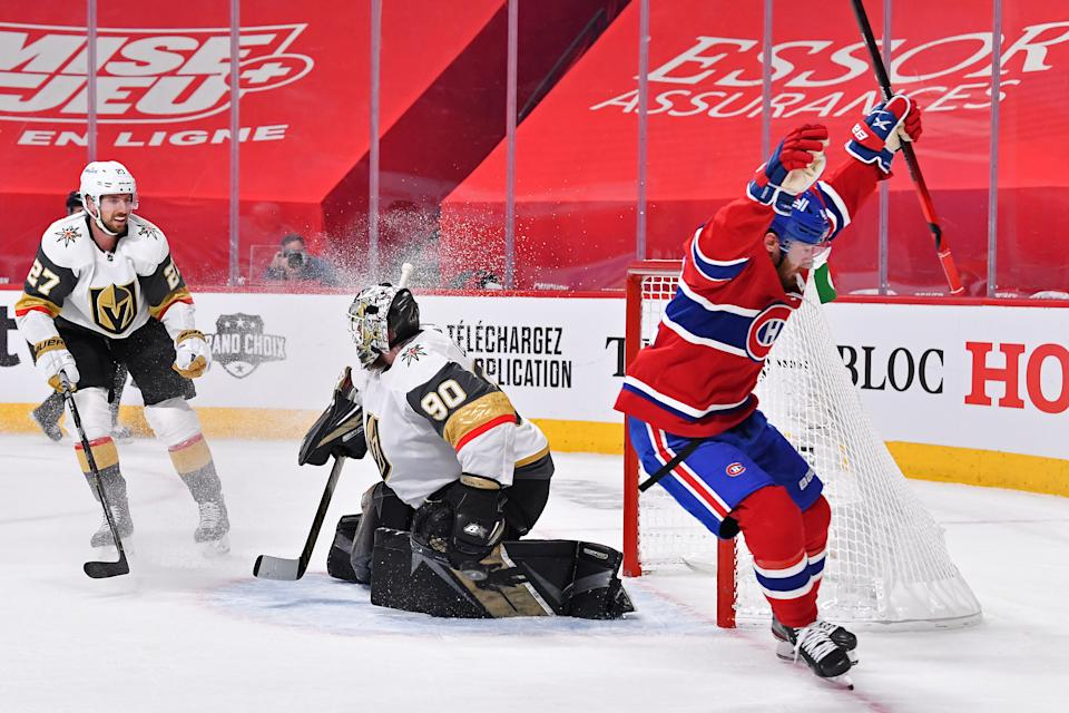 MONTREAL, QUEBEC - JUNE 20:  Paul Byron #41 of the Montreal Canadiens celebrates after scoring a goal past Robin Lehner #90 of the Vegas Golden Knights during the second period in Game Four of the Stanley Cup Semifinals of the 2021 Stanley Cup Playoffs at Bell Centre on June 20, 2021 in Montreal, Quebec. (Photo by Minas Panagiotakis/Getty Images)
