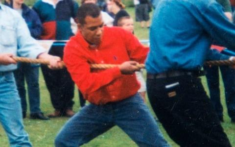 Khalid Masood pictured in 2003 taking part in a tug-of-war competition - Credit: Julian Simmonds