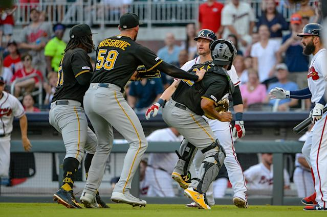 Braves infielder Josh Donaldson has words with Pirates pitcher Joe Musgrove (59) after being hit by a pitch during the MLB baseball game on June 10, 2019 at SunTrust Park in Atlanta. (Getty Images)