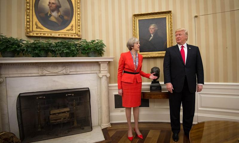 Theresa May meets Donald Trump in the Oval Office of the White House in Washington DC on 27 January 2017.