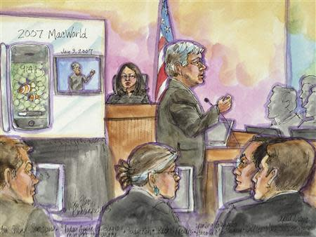 Apple attorney Harold McElhinny delivers opening statement in this courtroom sketch during Apple Inc vs Samsung Electronics Co Ltd case in U.S. District Court, Northern District of California in San Jose, California, April 1, 2014. REUTERS/Vicki Behringer