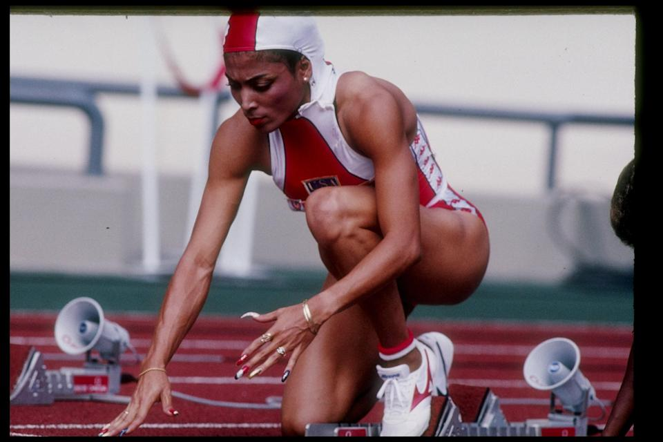 Florence Griffith-Joyner prepares for a race during the 1988 Summer Olympics in Seoul, South Korea.