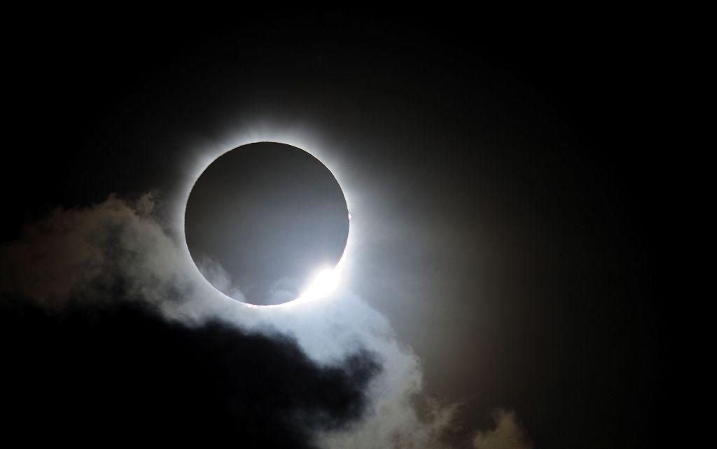 Near totality is seen during the solar eclipse on November 14, 2012 in Palm Cove, Australia.