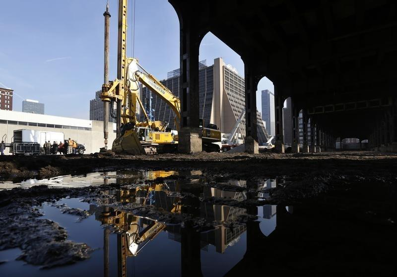 A giant drill rig breaks ground on the new Hudson Yards construction project on Manhattan's west side in New York