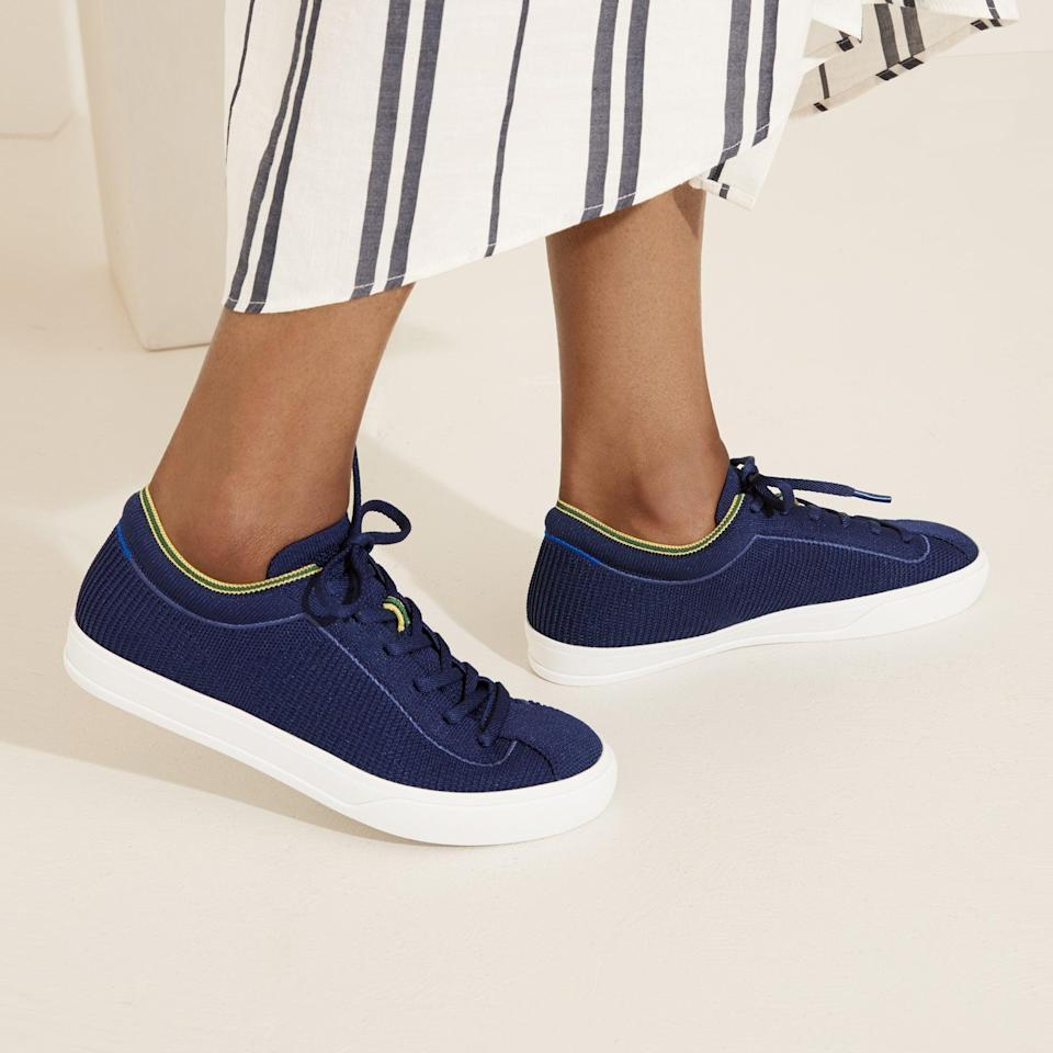 <p><span>Rothy's Lace-Up Sneakers in Navy</span> ($165)</p>