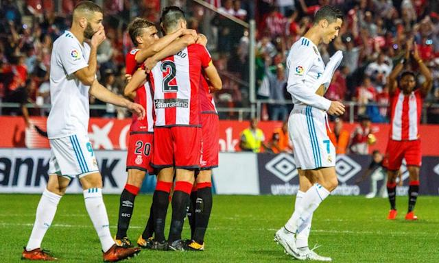 "<span class=""element-image__caption"">Karim Benzema and Cristiano Ronaldo show their despondency during Girona's victory on Sunday.</span> <span class=""element-image__credit"">Photograph: Xinhua/Rex/Shutterstock</span>"