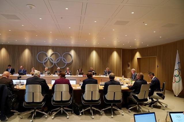 Bach President of the IOC opens an Executive Board meeting in Lausanne