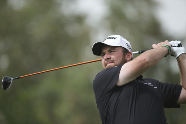 Shane Lowry of Ireland tees off on the 3rd hole in the final round of the Abu Dhabi Championship golf tournament in Abu Dhabi, United Arab Emirates, Saturday, Jan. 19, 2019. (AP Photo/Kamran Jebreili)