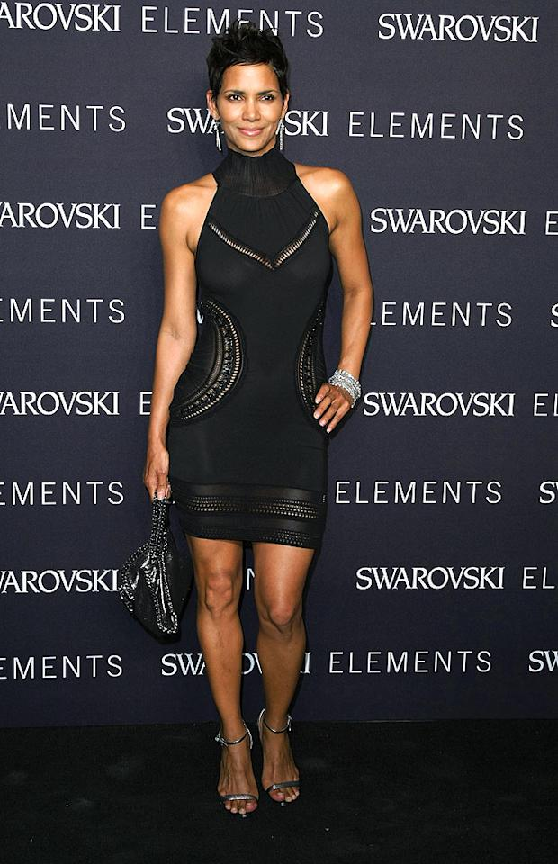 """Halle Berry could pull off a potato sack, but the actress simply sizzled in the form-fitting Roberto Cavalli LBD she wore to the Swarovski Elements Present 22 Ways to Wear Black charity auction in NYC. Neilson Barnard/<a href=""""http://www.gettyimages.com/"""" target=""""new"""">GettyImages.com</a> - September 20, 2010"""