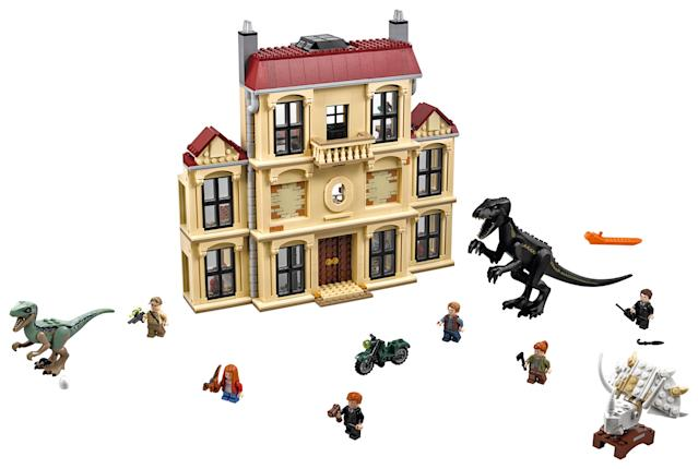 <p>This 1,000-plus-piece play set re-creates one of the biggest set-pieces in <em>Jurassic World: Fallen Kingdom </em>and offers three levels of play. Minifigures include humans, dinosaurs, and even a baby dino or two. (Photo: Lego) </p>