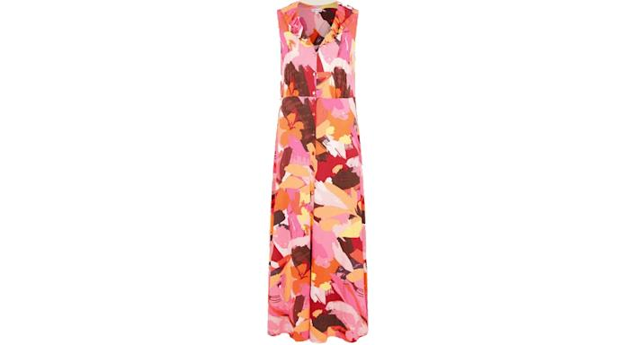 Abstract floral jersey maxi dress orange