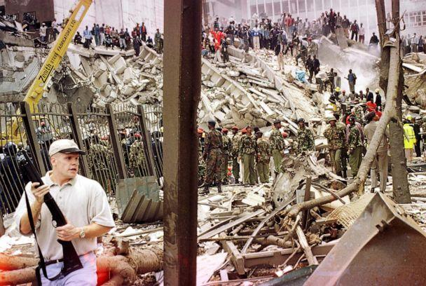 PHOTO: Rescuers work to help survivors amid the devastation brought in by a bomb explosion near the US embassy and a bank in Nairobi August 7, 1998, that killed at least 60 people, including eight Americans, and left more than 1,000 injured. (AFP/Getty Images)