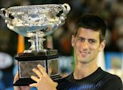 When it began: A 20-year-old Novak Djokovic after winning his first Grand Slam title at the 2008 Australian Open