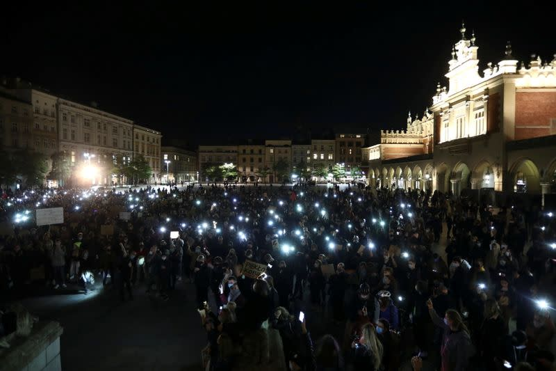 Demonstrators hold a protest against the ruling by Poland's Constitutional Tribunal that imposes a near-total ban on abortion, in Cracow
