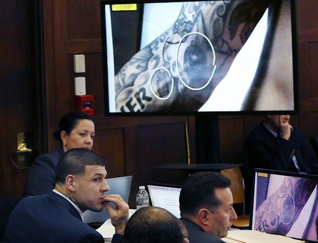 A judge will determine if Aaron Hernandez's tattoos can be used against him in a double murder trial. (AP)