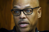 Waterloo Police Chief Joel Fitzgerald speaks during an interview with The Associated Press, Tuesday, Sept. 7, 2021, in Waterloo, Iowa. Fitzgerald, the first Black police chief in Waterloo, is facing intense opposition from some current and former officers as he works with city leaders to reform the department, including the removal of its longtime insignia that resembles a Ku Klux Klan dragon. (AP Photo/Charlie Neibergall)