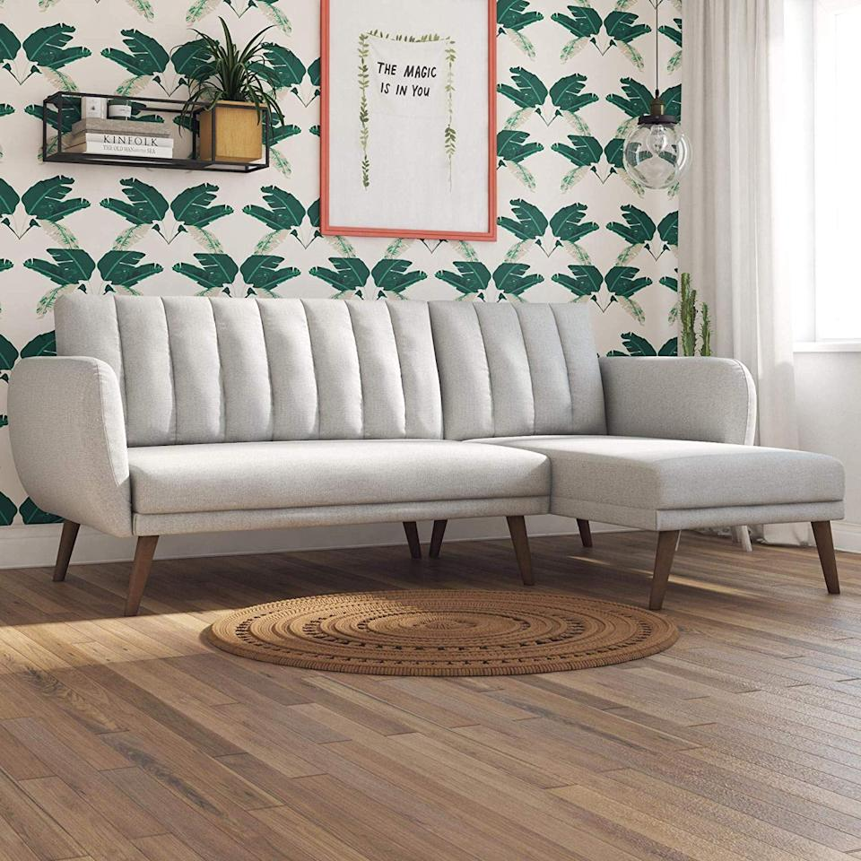 """<p>On the hunt for a functional sectional? Try this popular <a href=""""https://www.popsugar.com/buy/Novogratz-Linen-Brittany-Sectional-Futon-Sofa-507489?p_name=Novogratz%20Linen%20Brittany%20Sectional%20Futon%20Sofa&retailer=amazon.com&pid=507489&price=400&evar1=casa%3Aus&evar9=46027862&evar98=https%3A%2F%2Fwww.popsugar.com%2Fhome%2Fphoto-gallery%2F46027862%2Fimage%2F46027869%2FNovogratz-Linen-Brittany-Sectional-Futon-Sofa&list1=shopping%2Camazon%2Cfurniture%2Csofas%2Cliving%20rooms%2Chome%20shopping&prop13=api&pdata=1"""" rel=""""nofollow"""" data-shoppable-link=""""1"""" target=""""_blank"""" class=""""ga-track"""" data-ga-category=""""Related"""" data-ga-label=""""https://www.amazon.com/Novogratz-Brittany-Sofa-Futon-Linen/dp/B07JBJDNTT/ref=sr_1_90?crid=TFHYDQ9K17EW&amp;keywords=best%2Bcouches%2Band%2Bsofas&amp;qid=1555096087&amp;s=gateway&amp;sprefix=best%2Bcouches%2Caps%2C215&amp;sr=8-90&amp;th=1"""" data-ga-action=""""In-Line Links"""">Novogratz Linen Brittany Sectional Futon Sofa</a> ($400, originally $582). It comes in a variety of colors, too.</p>"""