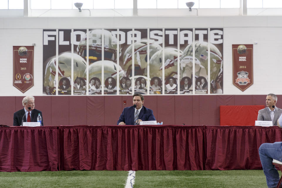 Gov. Ron DeSantis at a recent collegiate athletics roundtable in Tallahassee, Fla. (Don Juan Moore/Getty Images)