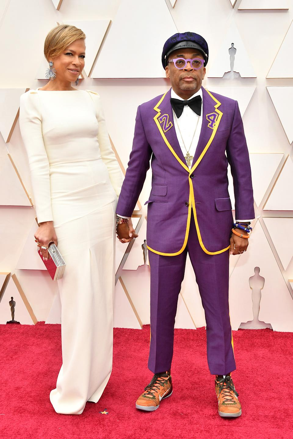 Director Spike Lee honoured Kobe Bryant with his custom purple tux that featured the late athlete and Oscar winner's number.
