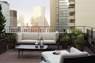 """<p>An official New York City landmark, The Benjamin was originally designed as a residential-style hotel for long-term guests—which is why many of the rooms have terraces large enough for entertaining (or at least having over a friend or two). On the smaller end of the private outdoor space front are the Balcony Suites, which are located on the hotel's top floors and have narrow, 32- to 45-square-foot unfurnished balconies. Also on the higher floors, the Terrace Suites' 90- to 150 square feet of outdoor space come with seating and tables, while the Signature Suites—billed as having """"the best views from the hotel""""—have either smaller balconies or larger terraces (so ask before booking). For the ultimate retreat, book the 22nd-floor Benjamin Suite, a true pied à terre with a dining room, free-standing tub, seasonal garden and two private terraces on which you can enjoy al fresco meals from <a href=""""https://www.cntraveler.com/stories/2013-02-22/travel-routine-iron-chef-geoffrey-zakarian?mbid=synd_yahoo_rss"""" rel=""""nofollow noopener"""" target=""""_blank"""" data-ylk=""""slk:Chef Geoffrey Zakarian's"""" class=""""link rapid-noclick-resp"""">Chef Geoffrey Zakarian's</a> The National restaurant.</p> <p><strong>Book now</strong>: <a href=""""https://cna.st/affiliate-link/21ph1kqPRCHLbSpab1xdndQMhkpJLDfXr612zi4LpM3Ybk5Vti2qqfzmywZYQQyEU9cpkqzQZvMbVywj6iwcftCBivPN7JFJ8UnmuY8PPdaWtkTPGLykUiZ4x3K5bQBg2VxUdP9mvVVymVcq?cid=601b268ab4933af7e6658fc0"""" rel=""""nofollow noopener"""" target=""""_blank"""" data-ylk=""""slk:From $151 per night, expedia.com"""" class=""""link rapid-noclick-resp"""">From $151 per night, expedia.com</a></p>"""