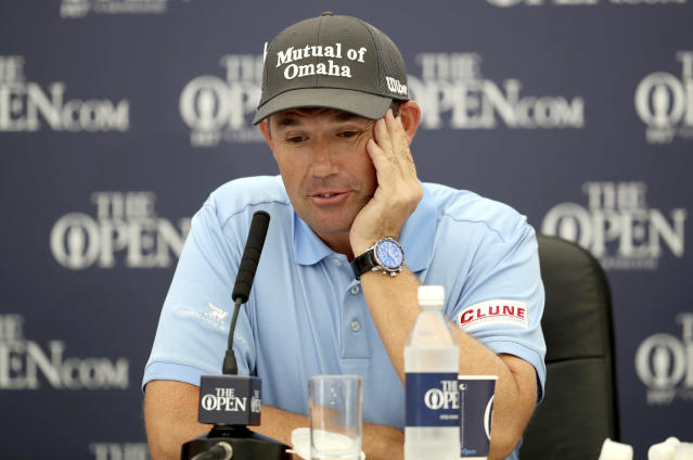 Padraig Harrington speaks during a press conference The Open Championship golf tournament, Monday July 16, 2018, at Carnoustie Golf Links in Angus, Scotland. ( Jane Barlow(/PA via AP)