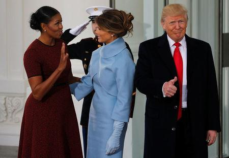 Melania trump channels jackie kennedy but conway grabs fashion headlines obama greets the trumps for tea before the inauguration at the white house in washington m4hsunfo