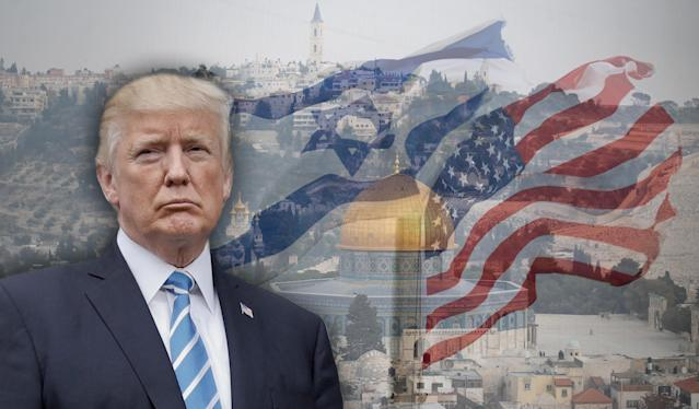 Trump and Jerusalem. (Photo illustration: Yahoo News; photos: AP, Ammar Awad/Reuters, Oded Balilty/AP)