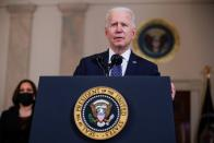 U.S. President Biden and Vice President Harris speak after guilty verdicts reached in trial of former Minneapolis police officer Chauvin at the White House in Washington