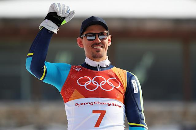 <p>Gold medallist Andre Myhrer of Sweden celebrates during the victory ceremony for the Men's Slalom on day 13 of the PyeongChang 2018 Winter Olympic Games at Yongpyong Alpine Centre on February 22, 2018 in Pyeongchang-gun, South Korea. (Photo by Alexander Hassenstein/Getty Images) </p>