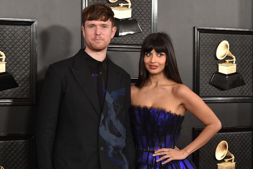 LOS ANGELES, CA - JANUARY 26: James Blake and Jameela Jamil attend the 62nd Annual Grammy Awards at Staples Center on January 26, 2020 in Los Angeles, CA. (Photo by David Crotty/Patrick McMullan via Getty Images)