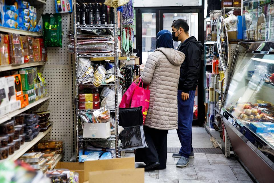 Customers shop at the halal grocery store Fertile Crescent in Brooklyn, N.Y., on May 5, 2021. (Julius Constantine Motal / NBC News)