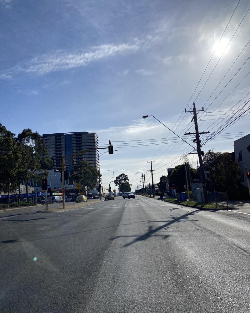 a usually busy Springvale Road in Melbourne was almost empty due to stage four lockdown.